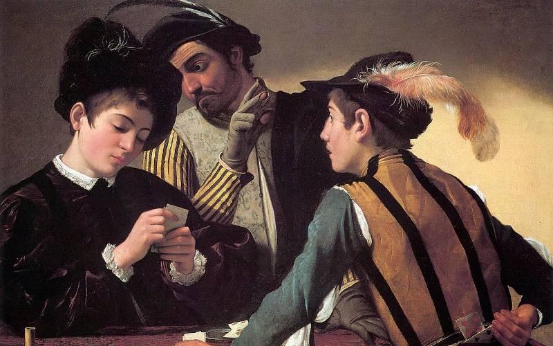 Dipinto I Bari di Caravaggio.