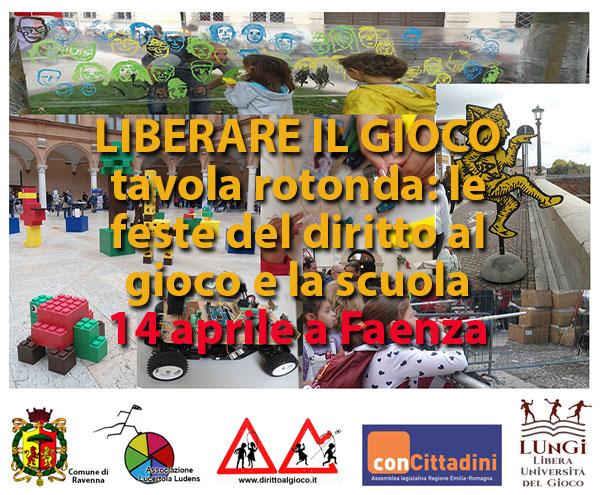 Manifesto conferenza sulle feste del diritto al gioco a scuola.