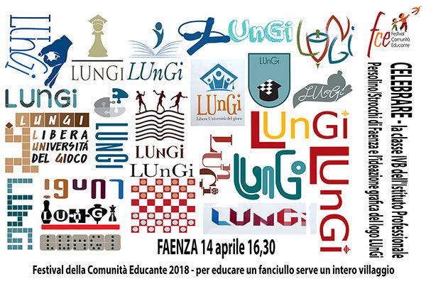L'immagine mostra un collage di logo per l'associazione LUNGI creati dagli studenti dell'Istituto Persolino Strocchi.